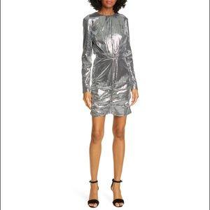MSGM Silver Metallic Longsleeved Sequin Midi Dress